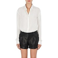 Saint Laurent Striped Silk Blend Georgette Blouse Wht Gld Wht Gld