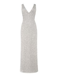 Lace And Beads Embellished Plung Neckline Maxi Dress Light Grey