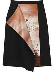 Burberry Ship Print Silk Panel Wool Pencil Skirt Black