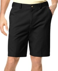 Geoffrey Beene Big And Tall Extender Waist Flat Front Shorts Black