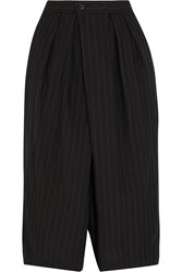 Comme Des Garcons Pinstriped Cropped Wool Blend Wide Leg Pants