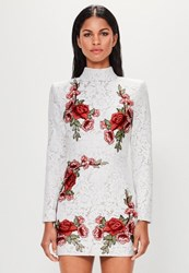 Missguided White Lace Rose High Neck Dress