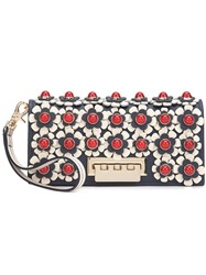 Zac Posen Flower Embellished Clutch Blue