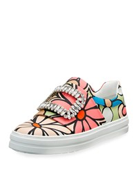 Roger Vivier Strass Buckle Floral Print Canvas Slip On Sneaker Size 39.0B 9.0B Floral