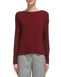 Whistles Shoulder Button Detail Sweater Red