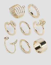 Lipsy Gc Moon Pave Ring Stack Gold