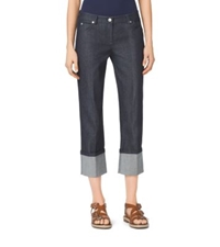Michael Kors Cropped Cotton Denim Jeans Indigo