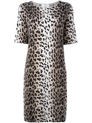 Allude Leopard Print Shift Dress Nude Neutrals