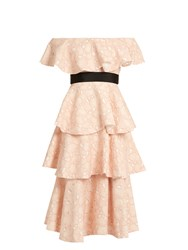 Huishan Zhang Soren Cloud Lace Off The Shoulder Dress Light Pink