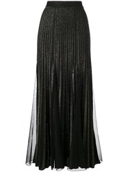 Elie Saab Metallic Pleated Skirt Women Polyester Viscose 40 Black