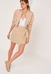 Missguided Faux Suede Side Tie Mini Skirt Camel Beige