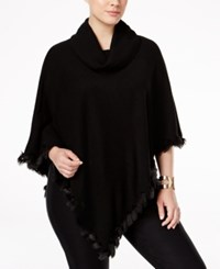 Alfani Plus Size Faux Fur Trim Cowl Neck Poncho Only At Macy's Deep Black