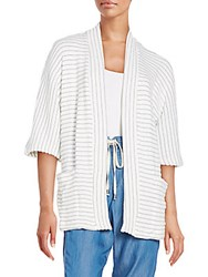 Splendid Striped Knit Cardigan White Light Heather Grey