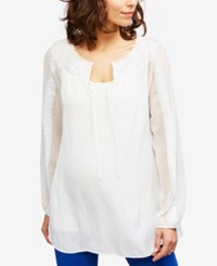 A Pea In The Pod Maternity Embellished Blouse Soft White