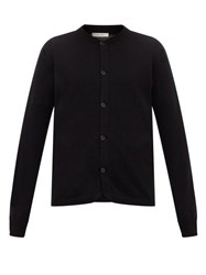 The Row Wes Bomber Collar Cashmere Cardigan Black