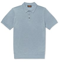 Tod's Slim Fit Textured Merino Wool And Silk Blend Polo Shirt Blue