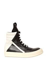 Rick Owens 20Mm Leather High Top Sneakers Black White