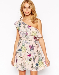 Love One Shoulder Prom Dress In Botanical Floral Print Multi