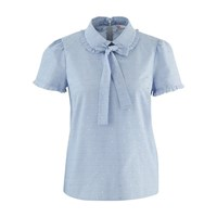 Red Valentino Short Sleeved Shirt With Ribbon Tie Nube