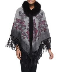 La Fiorentina Paisley Cape W Fur Trim And Leather Fringe Gray