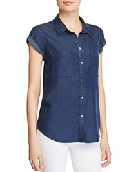 Paige Mila Short Sleeved Denim Shirt Grier
