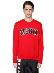 Msgm College Logo Print Cotton Sweatshirt