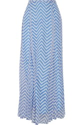 Michelle Mason Printed Silk Chiffon Maxi Skirt Blue