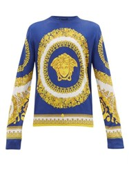 Versace Medusa Head Print Silk Sweater Multi