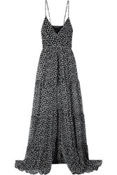Amiri Layered Floral Print Silk Crepon Maxi Dress Black