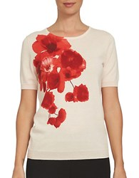 Cece Misses Poppy Fields Cotton Tee Peach Rose