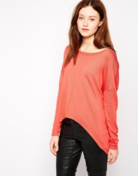 Vero Moda Asymmetrical Knit Jumper With Zip Back Spicedcoral