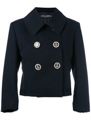 Dolce And Gabbana Double Breasted Cropped Jacket Women Cotton Viscose 46 Black