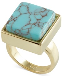 French Connection Gold Tone Semiprecious Square Stone Cocktail Ring Turquoise