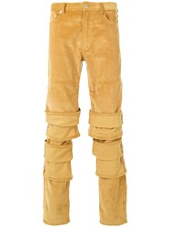 Y Project Layered Effect Trousers Cotton Yellow Orange