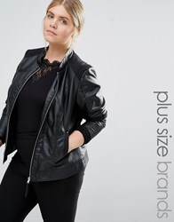 Junarose Leather Look Biker Jacket Black