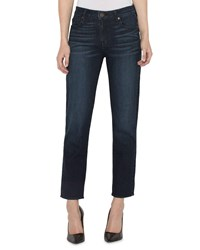 Parker Smith High Rise Straight Leg Ankle Jeans With Button Cuffs Dark Blue