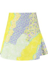 Peter Pilotto Apex Zip Embellished Printed Cotton Blend Twill Skirt Yellow