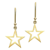 London Road Portobello Starry Night 9Ct Gold Star Drop Earrings