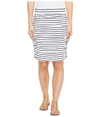 Hatley Ruched Skirt White Navy Stripe Women's Skirt