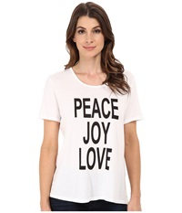 Cj By Cookie Johnson Peace Love Joy Short Sleeve Tee White Women's T Shirt