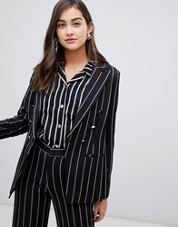 Amy Lynn Stripped Blazer Black White No.7 Multi