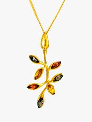 Be Jewelled Baltic Amber Autumn Leaf Pendant Necklace Gold Multi