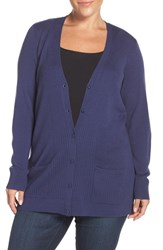Sejour Plus Size Women's Ribbed V Neck Wool Blend Cardigan Navy Patriot
