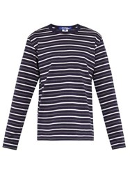Junya Watanabe Striped Cotton Jersey Long Sleeved Top Navy Multi