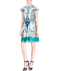 Etro Floral Paisley Cap Sleeve Silk Dress Green Blue