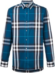 Burberry Plaid Button Down Shirt Blue