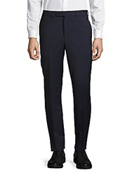 Saks Fifth Avenue Textured Flat Front Wool Pants Blue