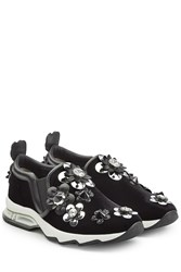Fendi Suede Sneakers With Embellished Flower Appliques Black