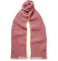 Berluti Cashmere And Linen Blend Scarf Red