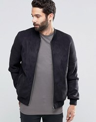 Asos Faux Suede Bomber With Quilted Sleeve In Black Black